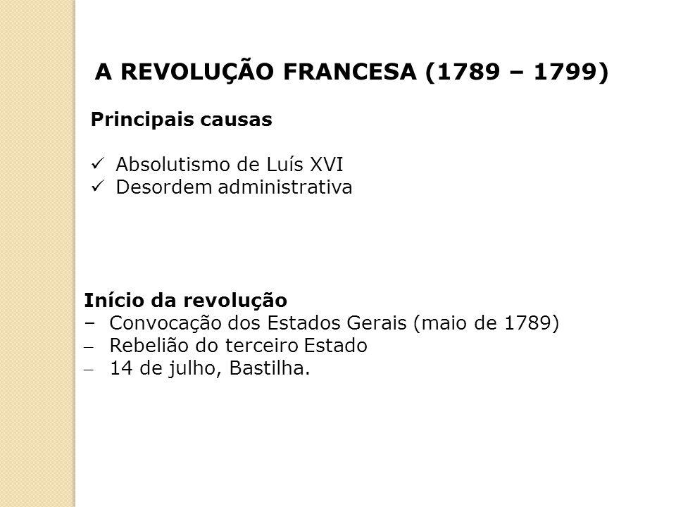 A REVOLUÇÃO FRANCESA (1789 – 1799) Principais causas Absolutismo de Luís XVI Desordem administrativa Início da revolução – Convocação dos Estados Gera