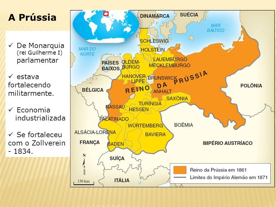 De Monarquia (rei Guilherme I) parlamentar estava fortalecendo militarmente. Economia industrializada Se fortaleceu com o Zollverein - 1834. A Prússia