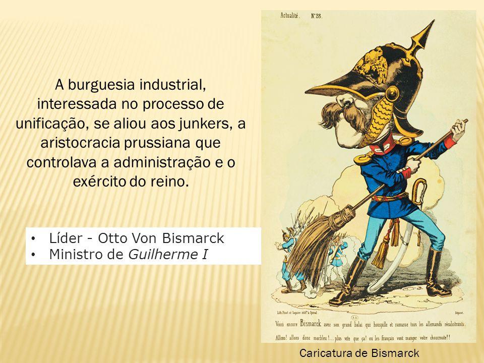 A burguesia industrial, interessada no processo de unificação, se aliou aos junkers, a aristocracia prussiana que controlava a administração e o exérc