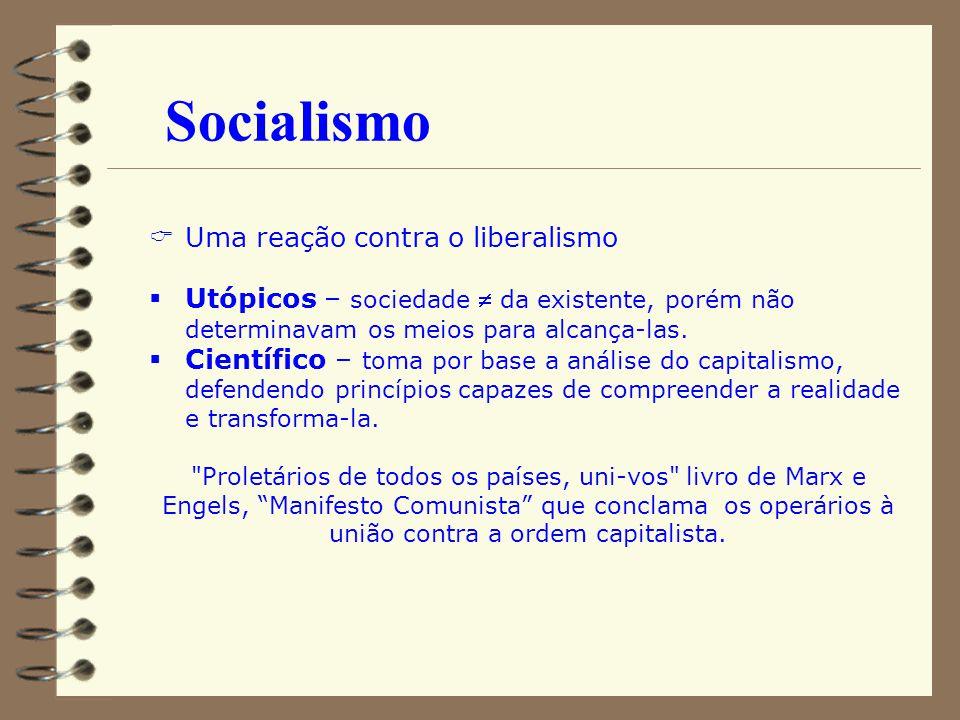 Socialismo Uma reação contra o liberalismo Utópicos – sociedade da existente, porém não determinavam os meios para alcança-las. Científico – toma por