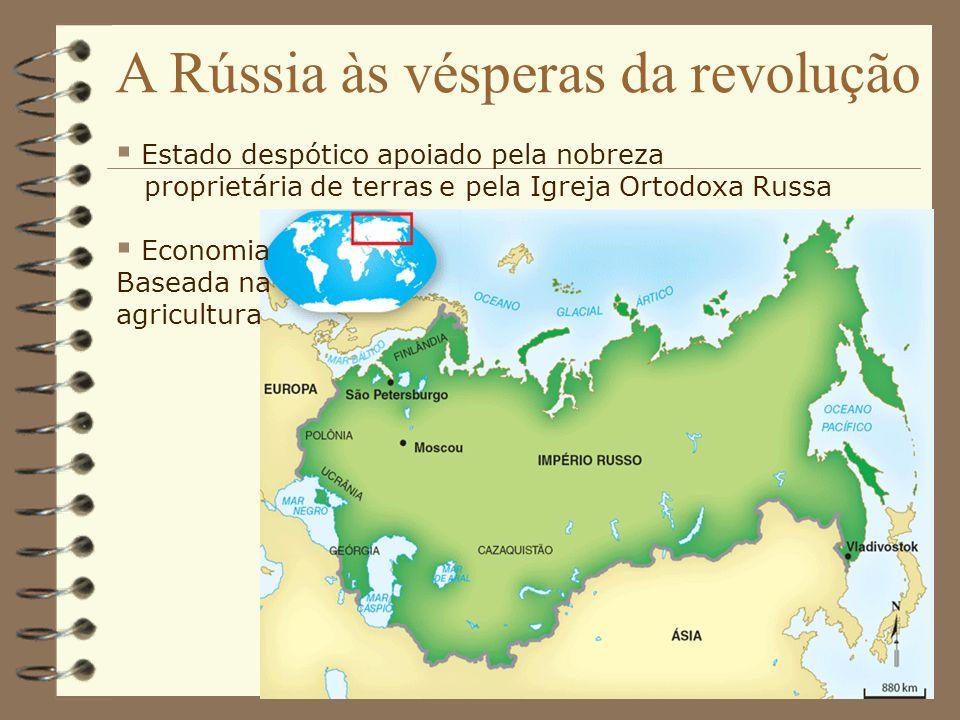 A Rússia às vésperas da revolução Estado despótico apoiado pela nobreza proprietária de terras e pela Igreja Ortodoxa Russa Economia Baseada na agricu
