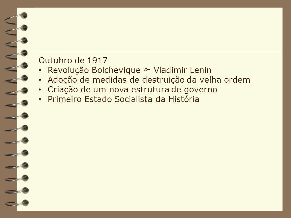 Outubro de 1917 Revolução Bolchevique Vladimir Lenin Adoção de medidas de destruição da velha ordem Criação de um nova estrutura de governo Primeiro E