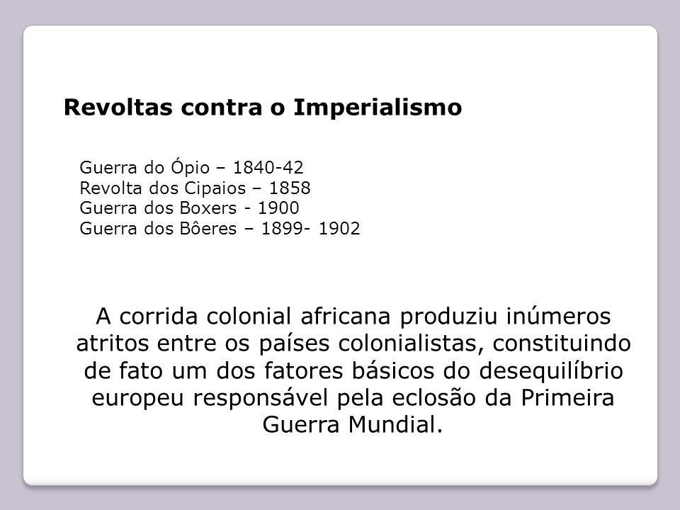 Revoltas contra o Imperialismo Guerra do Ópio – 1840-42 Revolta dos Cipaios – 1858 Guerra dos Boxers - 1900 Guerra dos Bôeres – 1899- 1902 A corrida c
