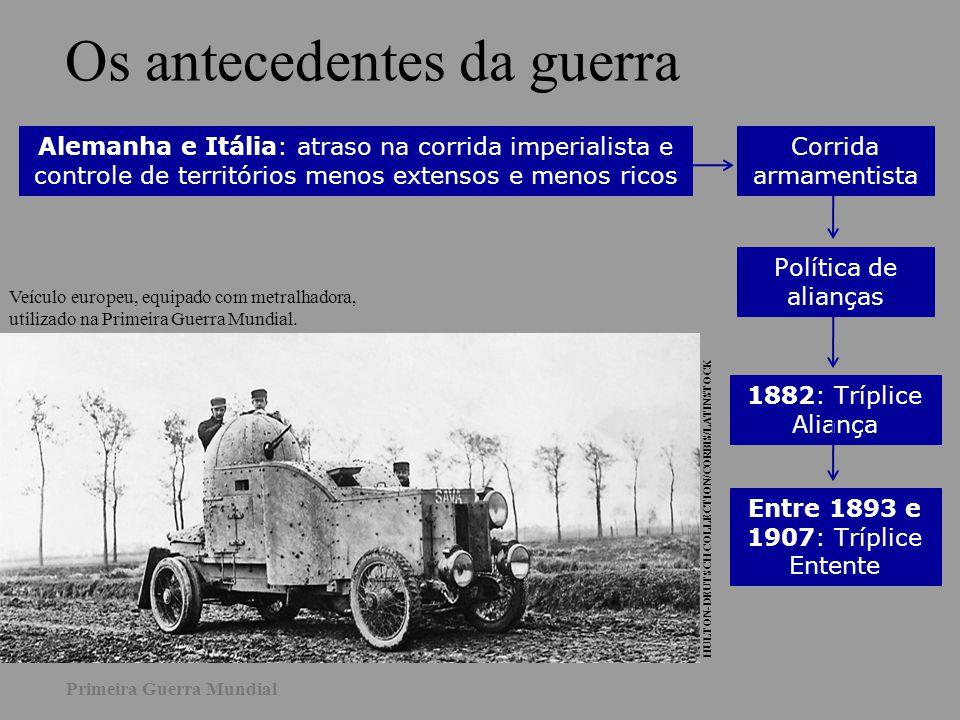 Os antecedentes da guerra Alemanha e Itália: atraso na corrida imperialista e controle de territórios menos extensos e menos ricos Corrida armamentist