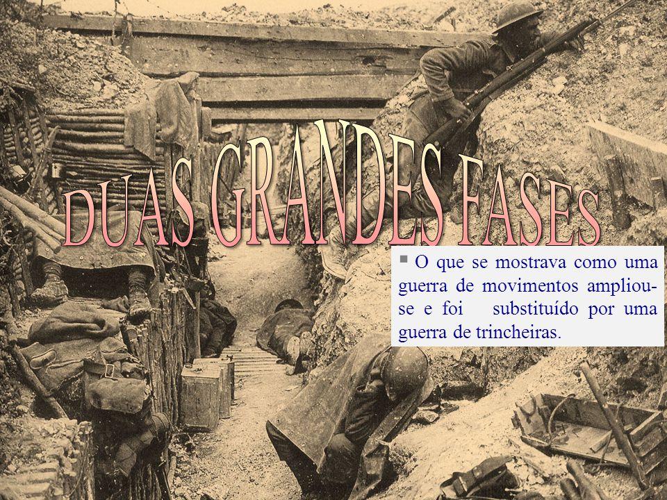 O que se mostrava como uma guerra de movimentos ampliou- se e foi substituído por uma guerra de trincheiras.