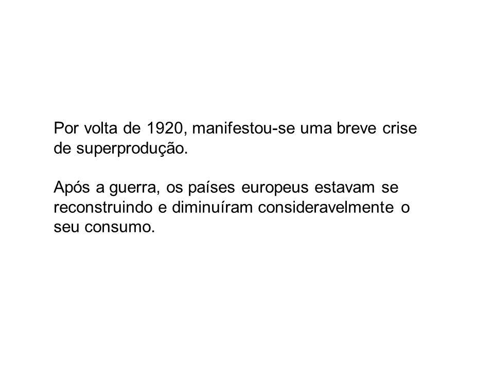Por volta de 1920, manifestou-se uma breve crise de superprodução. Após a guerra, os países europeus estavam se reconstruindo e diminuíram considerave