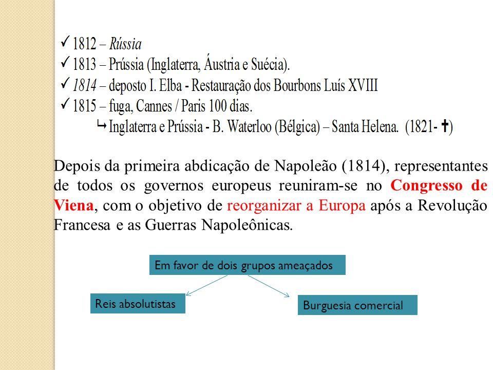Depois da primeira abdicação de Napoleão (1814), representantes de todos os governos europeus reuniram-se no Congresso de Viena, com o objetivo de reo