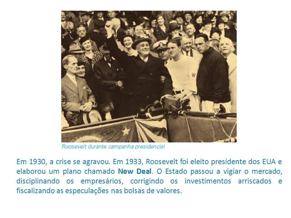 Em 1930, a crise se agravou. Em 1933, Roosevelt foi eleito presidente dos EUA e elaborou um plano chamado New Deal. O Estado passou a vigiar o mercado