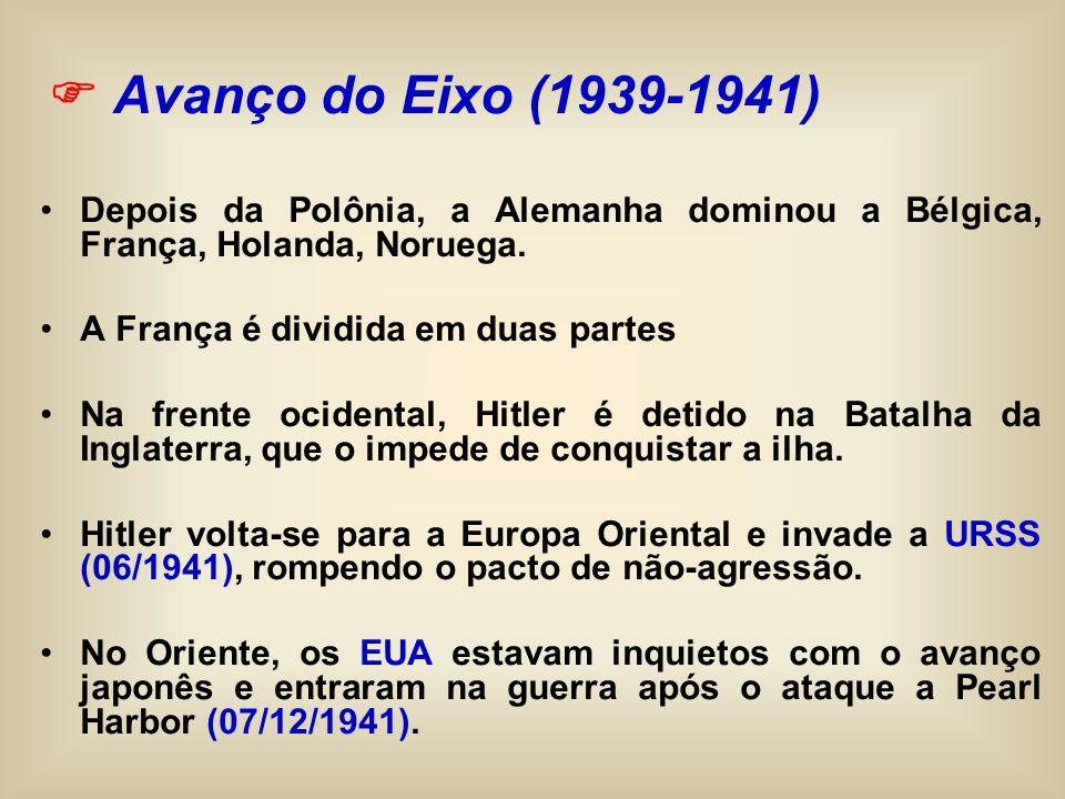 Depois da Polônia, a Alemanha dominou a Bélgica, França, Holanda, Noruega. A França é dividida em duas partes Na frente ocidental, Hitler é detido na