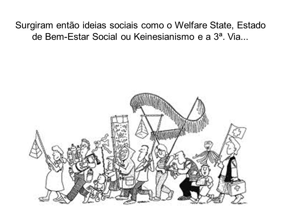 Surgiram então ideias sociais como o Welfare State, Estado de Bem-Estar Social ou Keinesianismo e a 3ª. Via...
