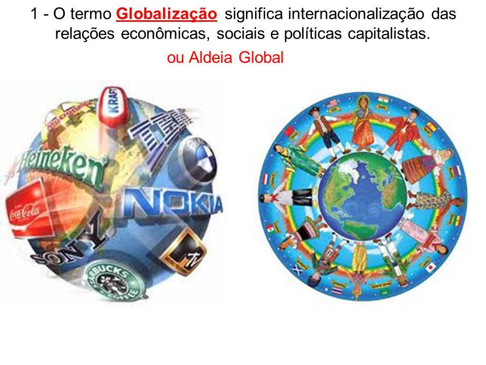 1 - O termo Globalização significa internacionalização das relações econômicas, sociais e políticas capitalistas. ou Aldeia Global