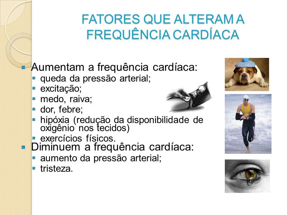 FATORES QUE ALTERAM A FREQUÊNCIA CARDÍACA Aumentam a frequência cardíaca: queda da pressão arterial; excitação; medo, raiva; dor, febre; hipóxia (redu