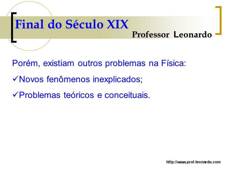 Professor L eonardo Porém, existiam outros problemas na Física: Novos fenômenos inexplicados; Problemas teóricos e conceituais.