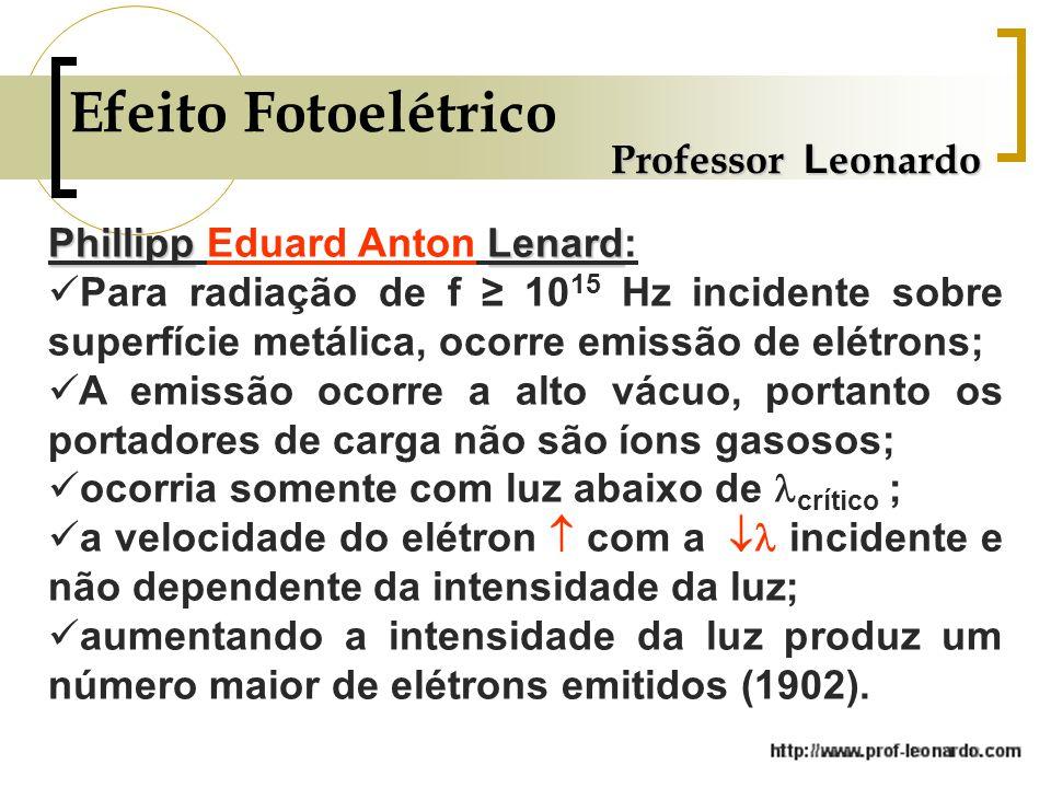 Professor L eonardo Efeito Fotoelétrico PhillippLenard Phillipp Eduard Anton Lenard: Para radiação de f 10 15 Hz incidente sobre superfície metálica, ocorre emissão de elétrons; A emissão ocorre a alto vácuo, portanto os portadores de carga não são íons gasosos; ocorria somente com luz abaixo de crítico ; a velocidade do elétron com a incidente e não dependente da intensidade da luz; aumentando a intensidade da luz produz um número maior de elétrons emitidos (1902).