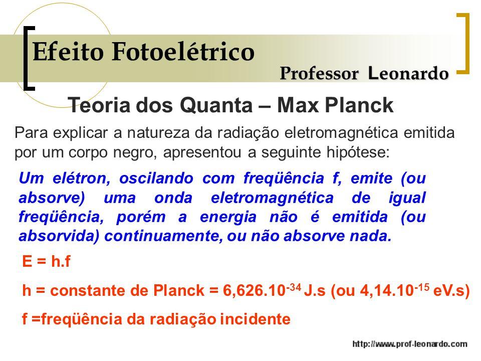 Efeito Fotoelétrico Professor L eonardo Teoria dos Quanta – Max Planck Para explicar a natureza da radiação eletromagnética emitida por um corpo negro, apresentou a seguinte hipótese: Um elétron, oscilando com freqüência f, emite (ou absorve) uma onda eletromagnética de igual freqüência, porém a energia não é emitida (ou absorvida) continuamente, ou não absorve nada.