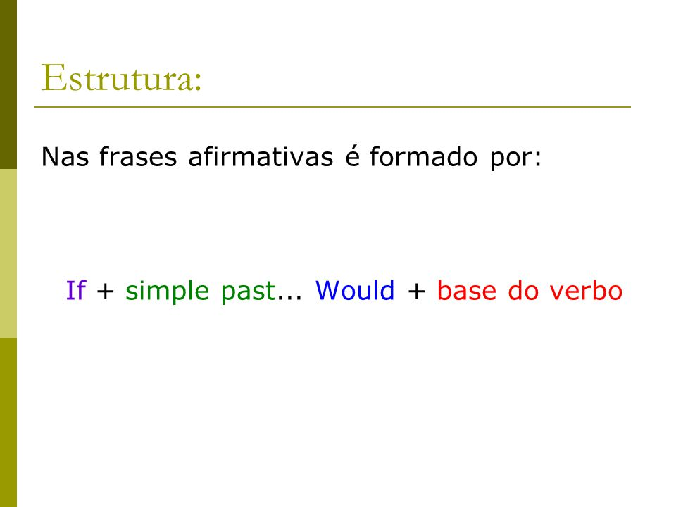 Estrutura: Nas frases afirmativas é formado por: If + simple past... Would + base do verbo