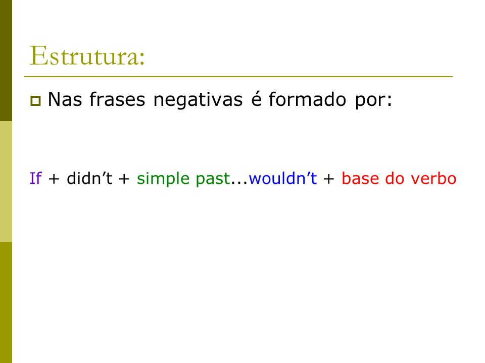 Estrutura: Nas frases negativas é formado por: If + didnt + simple past...wouldnt + base do verbo