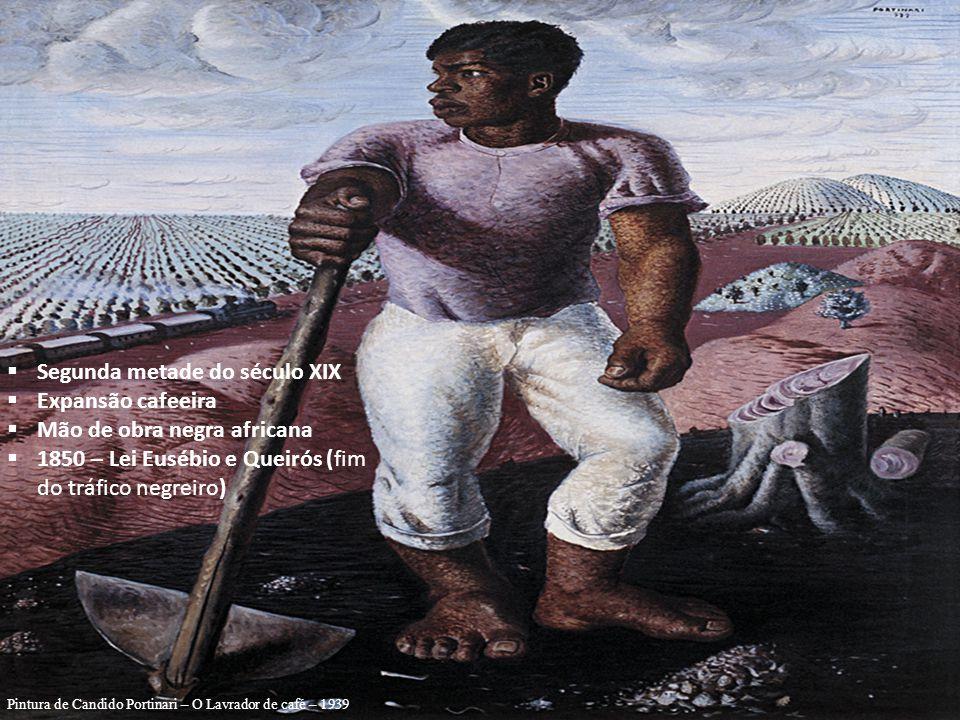 Segunda metade do século XIX Expansão cafeeira Mão de obra negra africana 1850 – Lei Eusébio e Queirós (fim do tráfico negreiro) Pintura de Candido Portinari – O Lavrador de café – 1939