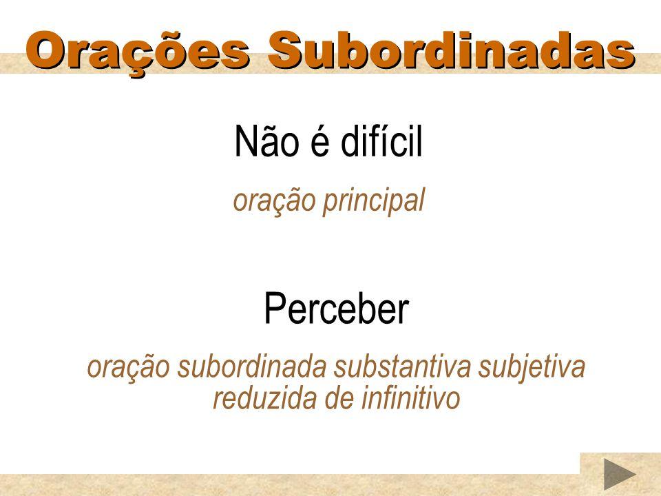 Orações Subordinadas Não é difícil oração principal Perceber oração subordinada substantiva subjetiva reduzida de infinitivo
