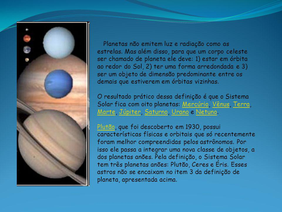 Planetas não emitem luz e radiação como as estrelas. Mas além disso, para que um corpo celeste ser chamado de planeta ele deve: 1) estar em órbita ao