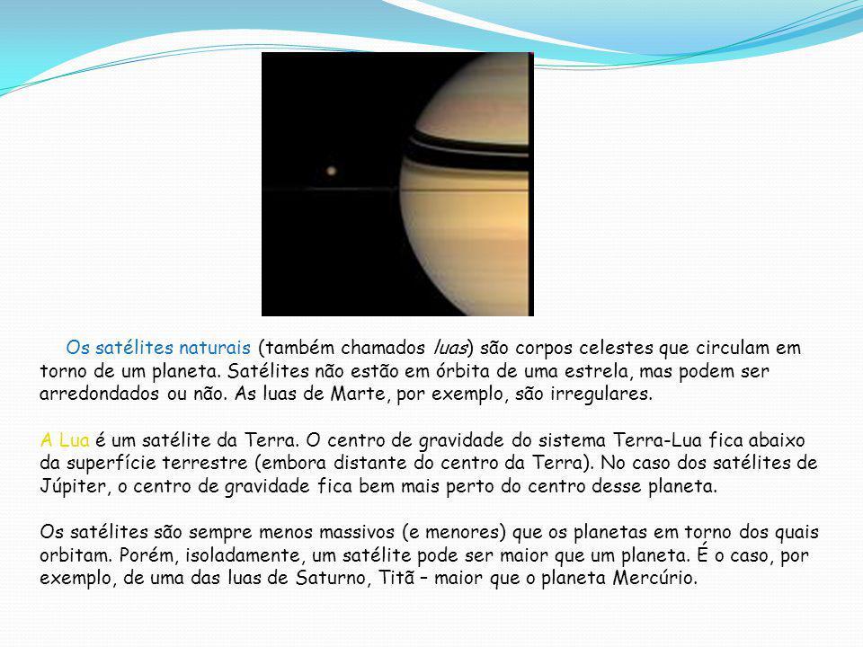 Alguns satélites do Sistema Solar Para efeito de comparação, a Lua tem 3.476 km de diâmetro e leva 27 dias para completar uma volta em torno da Terra (revolução).