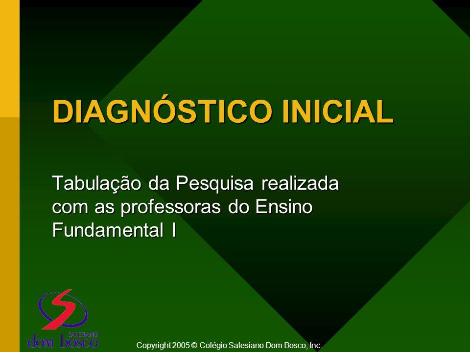 DIAGNÓSTICO INICIAL Tabulação da Pesquisa realizada com as professoras do Ensino Fundamental I Copyright 2005 © Colégio Salesiano Dom Bosco, Inc.