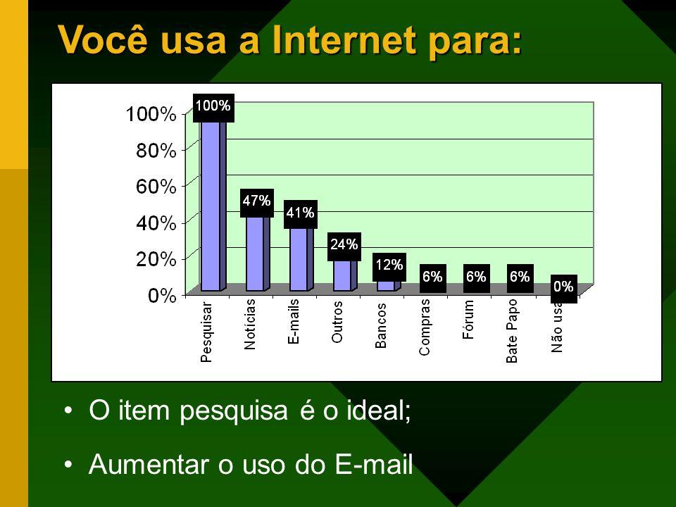 Você usa a Internet para: O item pesquisa é o ideal; Aumentar o uso do E-mail