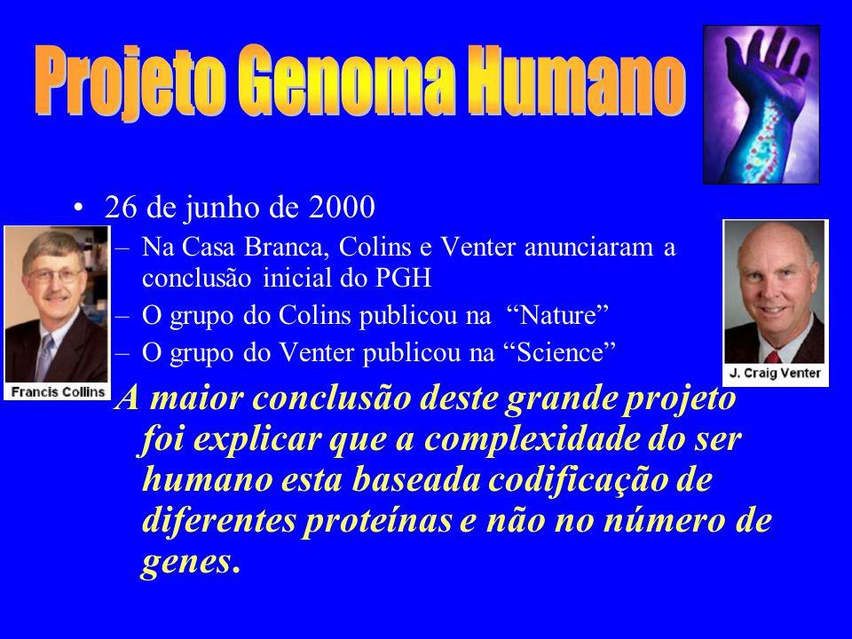 26 de junho de 2000 –Na Casa Branca, Colins e Venter anunciaram a conclusão inicial do PGH –O grupo do Colins publicou na Nature –O grupo do Venter publicou na Science A maior conclusão deste grande projeto foi explicar que a complexidade do ser humano esta baseada codificação de diferentes proteínas e não no número de genes.