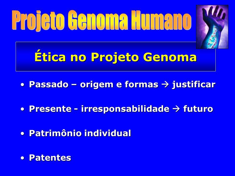 Ética no Projeto Genoma Passado – origem e formas justificarPassado – origem e formas justificar Presente - irresponsabilidade futuroPresente - irresponsabilidade futuro Patrimônio individualPatrimônio individual PatentesPatentes