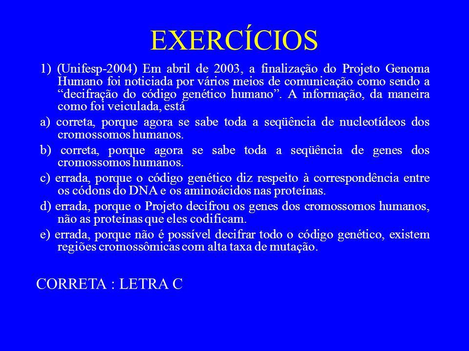 EXERCÍCIOS 1) (Unifesp-2004) Em abril de 2003, a finalização do Projeto Genoma Humano foi noticiada por vários meios de comunicação como sendo a decifração do código genético humano.