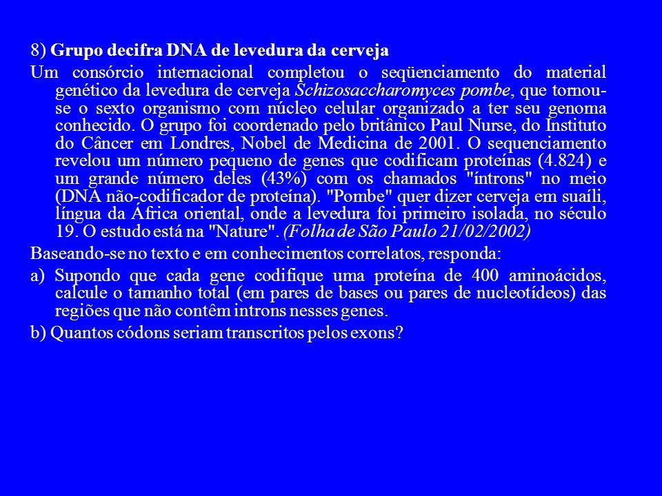 8) Grupo decifra DNA de levedura da cerveja Um consórcio internacional completou o seqüenciamento do material genético da levedura de cerveja Schizosaccharomyces pombe, que tornou- se o sexto organismo com núcleo celular organizado a ter seu genoma conhecido.