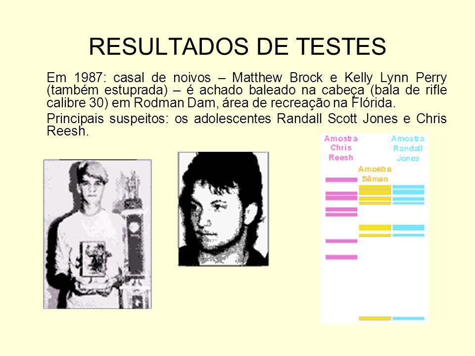 RESULTADOS DE TESTES Em 1987: casal de noivos – Matthew Brock e Kelly Lynn Perry (também estuprada) – é achado baleado na cabeça (bala de rifle calibr