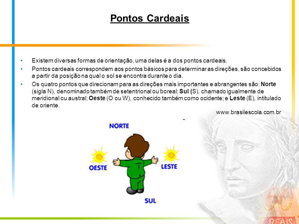 Pontos Cardeais Existem diversas formas de orientação, uma delas é a dos pontos cardeais. Pontos cardeais correspondem aos pontos básicos para determi