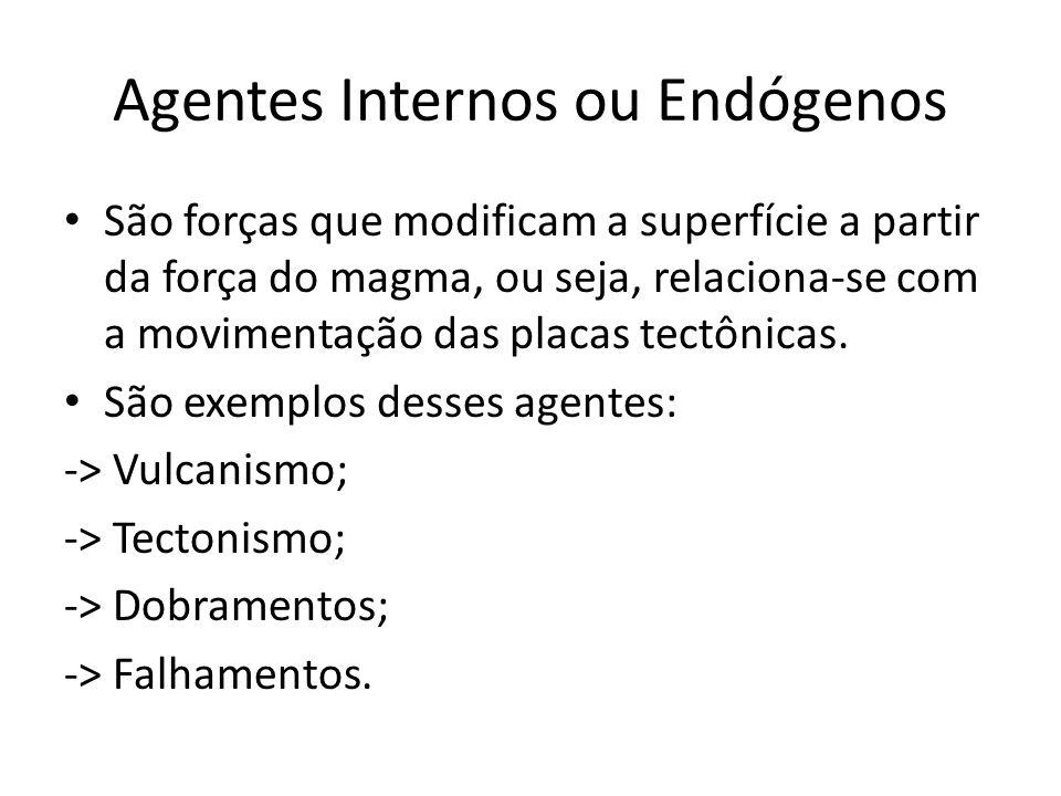 Agentes Internos ou Endógenos São forças que modificam a superfície a partir da força do magma, ou seja, relaciona-se com a movimentação das placas te