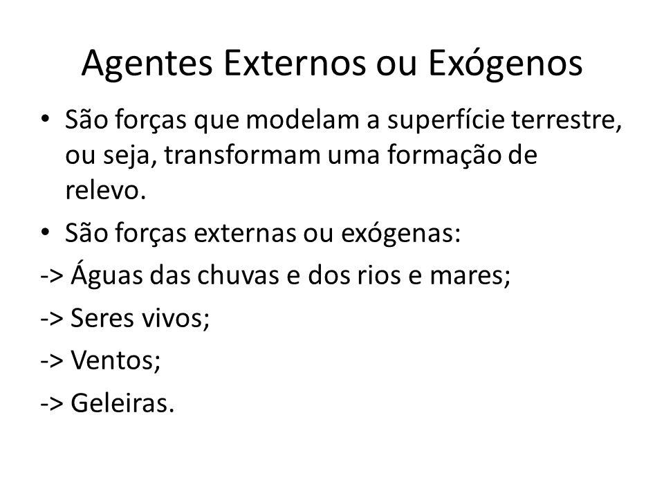 Agentes Externos ou Exógenos São forças que modelam a superfície terrestre, ou seja, transformam uma formação de relevo. São forças externas ou exógen