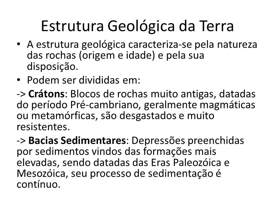 Estrutura Geológica da Terra A estrutura geológica caracteriza-se pela natureza das rochas (origem e idade) e pela sua disposição. Podem ser divididas