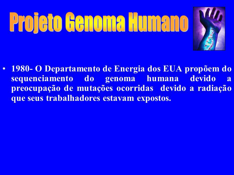 1980- O Departamento de Energia dos EUA propõem do sequenciamento do genoma humana devido a preocupação de mutações ocorridas devido a radiação que se