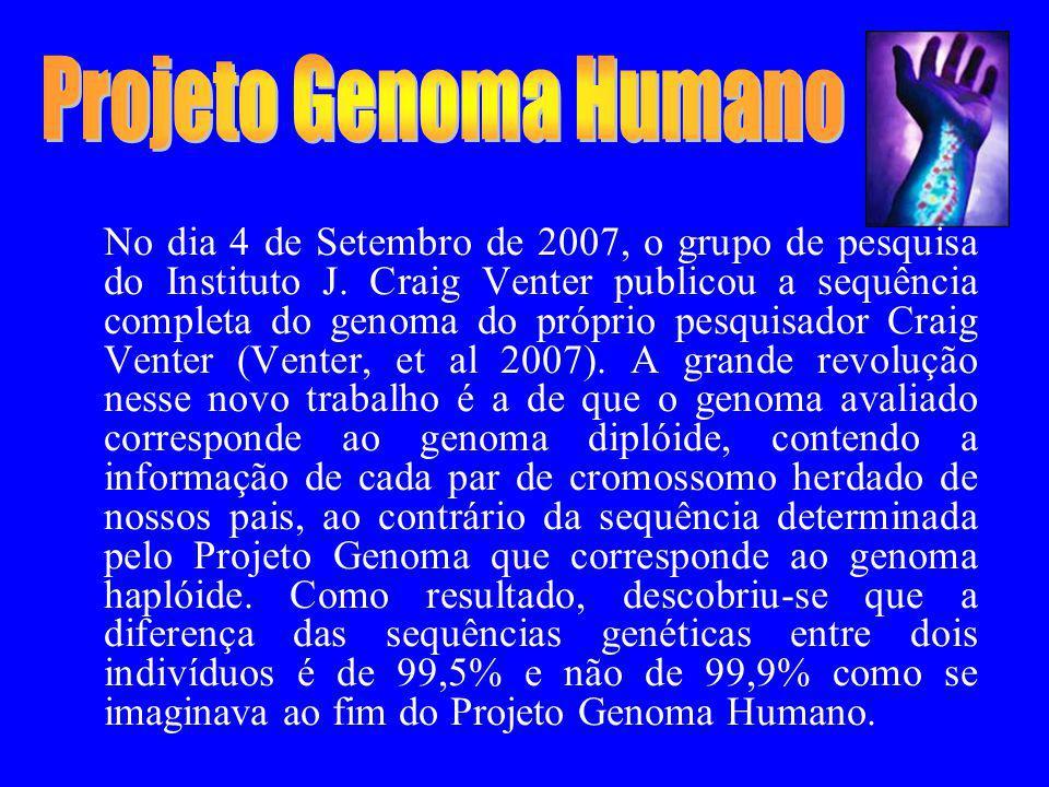 No dia 4 de Setembro de 2007, o grupo de pesquisa do Instituto J. Craig Venter publicou a sequência completa do genoma do próprio pesquisador Craig Ve