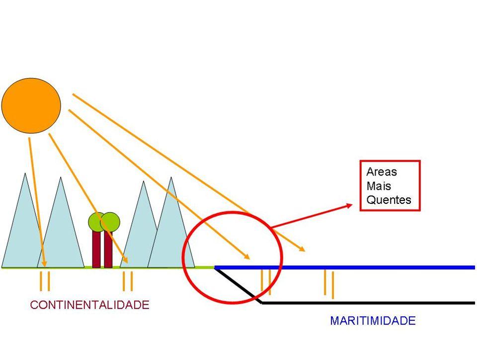 Marca distância maior do oceano que resulta na maior amplitude térmica e menor umidade.
