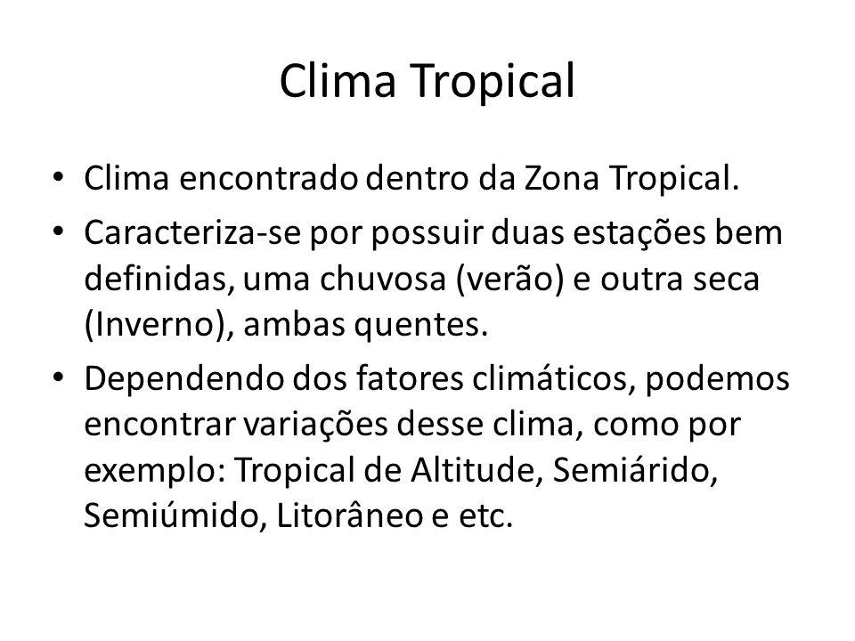 Clima Tropical Clima encontrado dentro da Zona Tropical.
