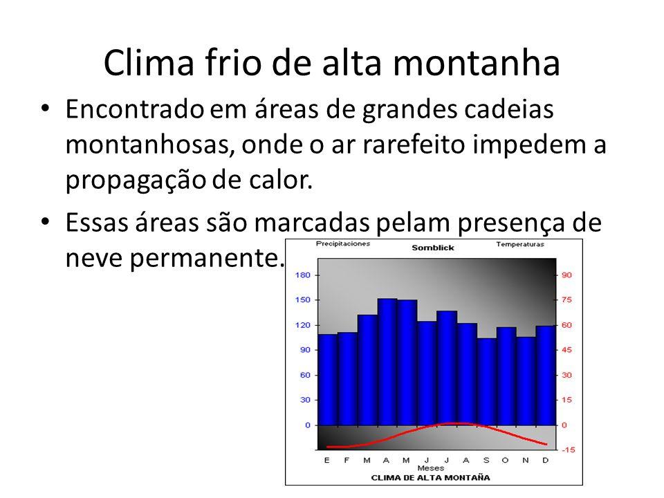 Clima frio de alta montanha Encontrado em áreas de grandes cadeias montanhosas, onde o ar rarefeito impedem a propagação de calor.