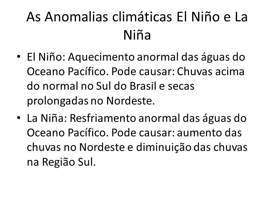As Anomalias climáticas El Niño e La Niña El Niño: Aquecimento anormal das águas do Oceano Pacífico.