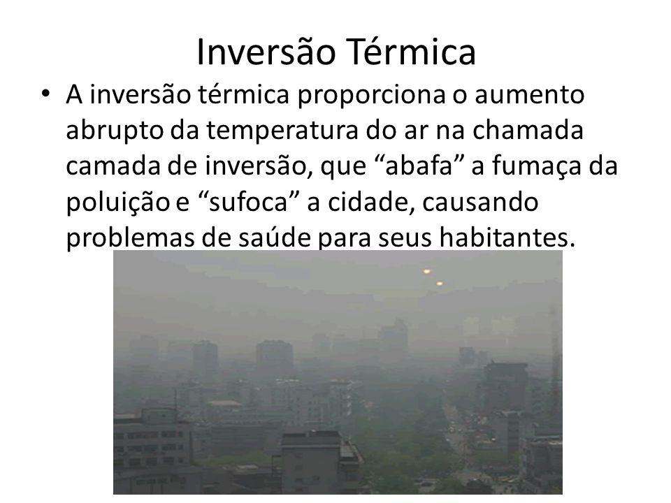 Inversão Térmica A inversão térmica proporciona o aumento abrupto da temperatura do ar na chamada camada de inversão, que abafa a fumaça da poluição e sufoca a cidade, causando problemas de saúde para seus habitantes.