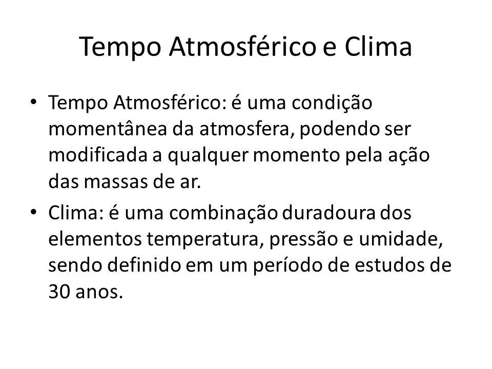 Tempo Atmosférico e Clima Tempo Atmosférico: é uma condição momentânea da atmosfera, podendo ser modificada a qualquer momento pela ação das massas de ar.