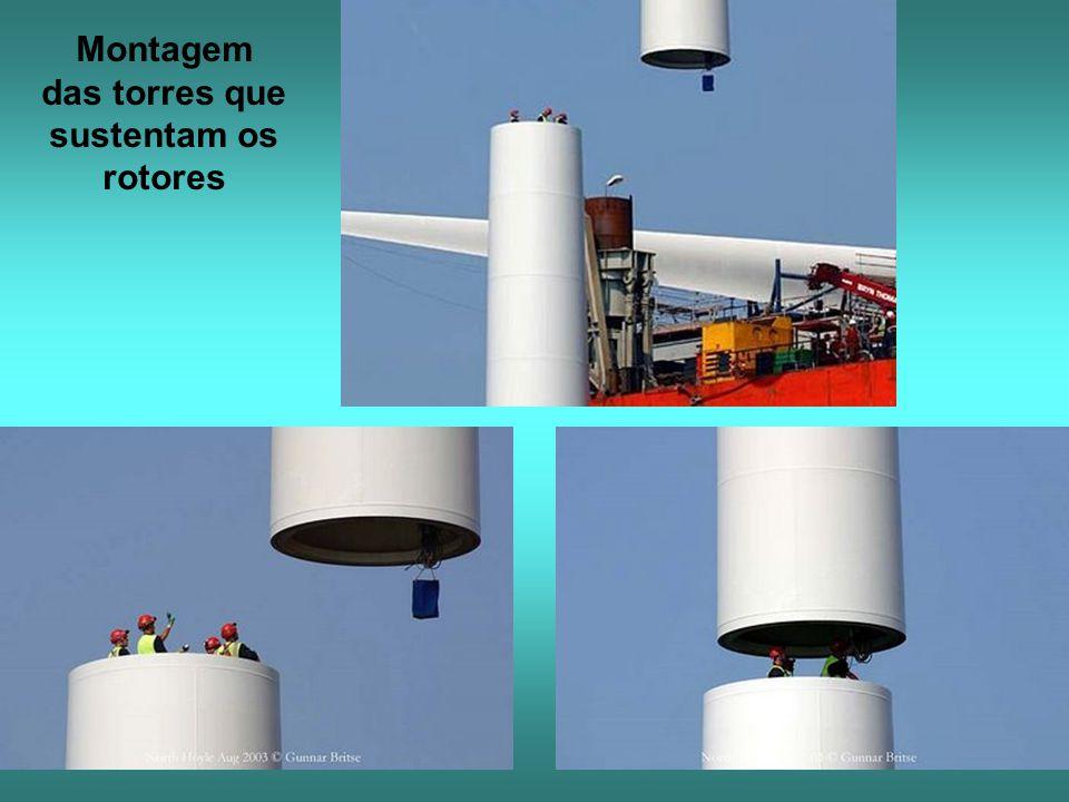 Montagem das torres que sustentam os rotores