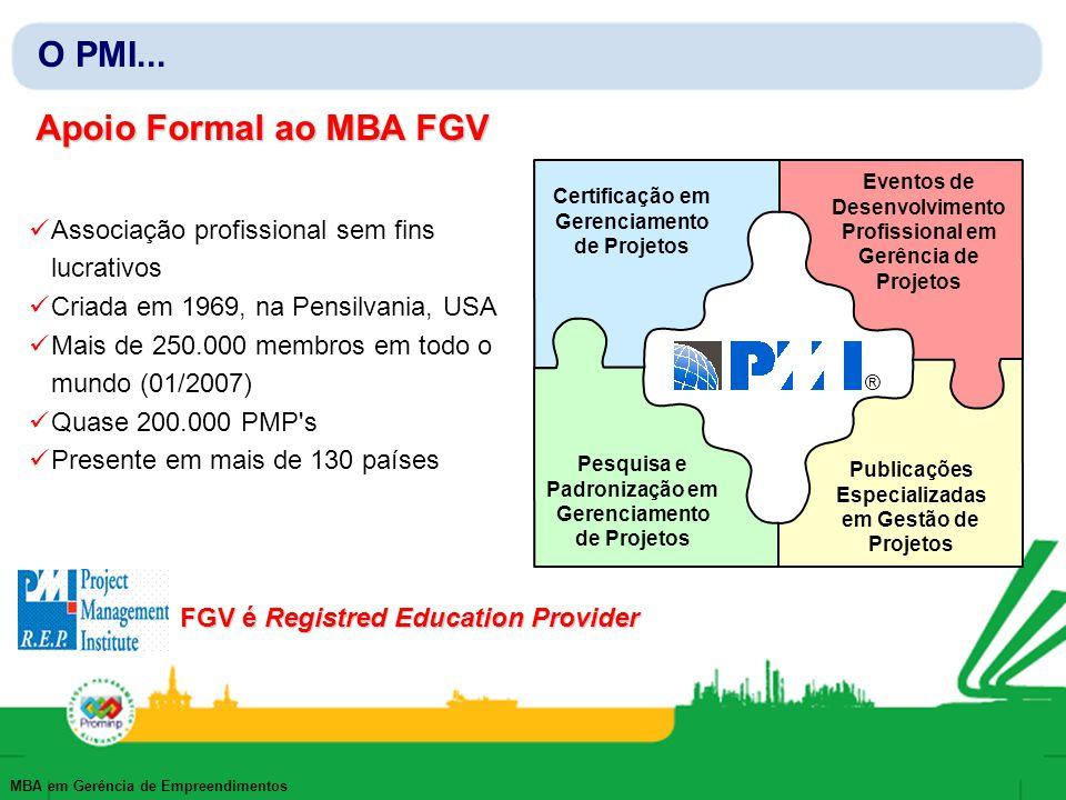 MBA em Gerência de Empreendimentos O PMI... Apoio Formal ao MBA FGV Associação profissional sem fins lucrativos Criada em 1969, na Pensilvania, USA Ma