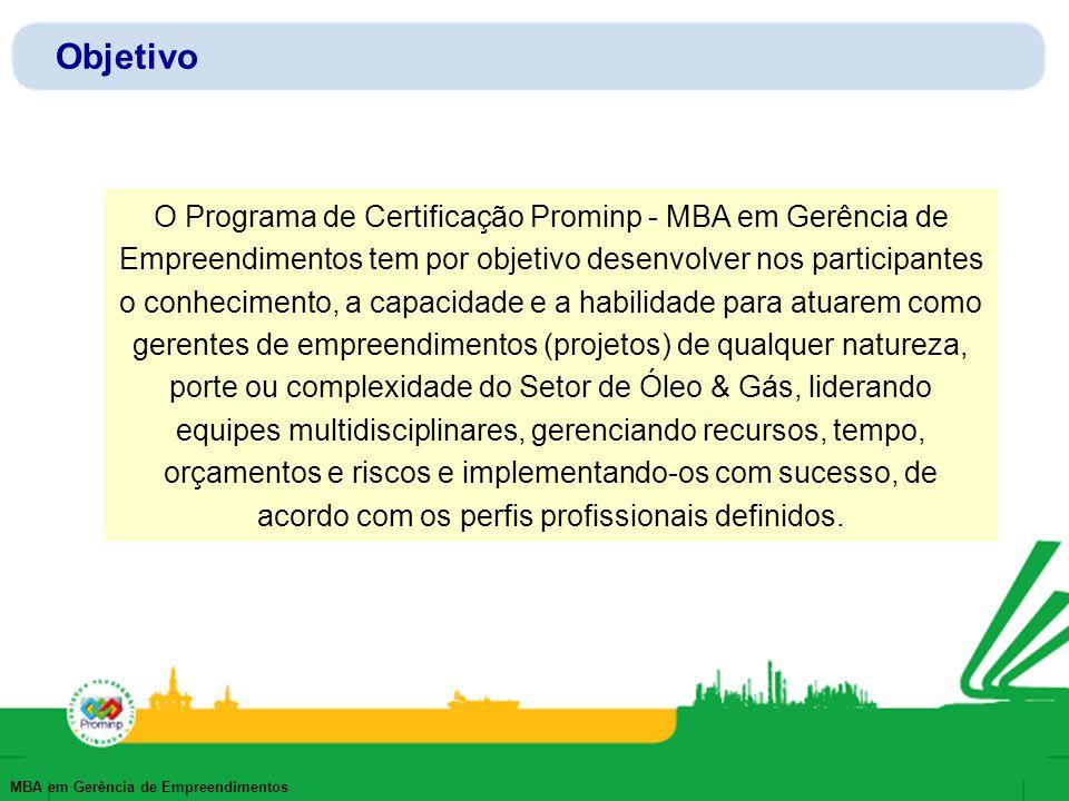 MBA em Gerência de Empreendimentos Objetivo O Programa de Certificação Prominp - MBA em Gerência de Empreendimentos tem por objetivo desenvolver nos p