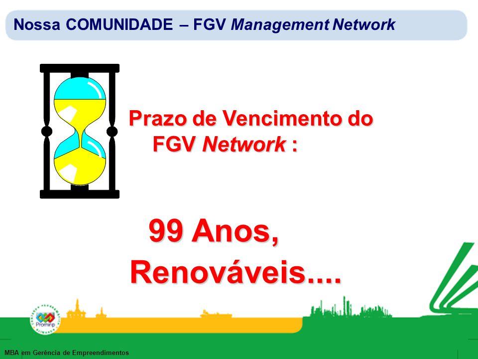 MBA em Gerência de Empreendimentos Prazo de Vencimento do FGV Network : 99 Anos, Renováveis.... Nossa COMUNIDADE – FGV Management Network