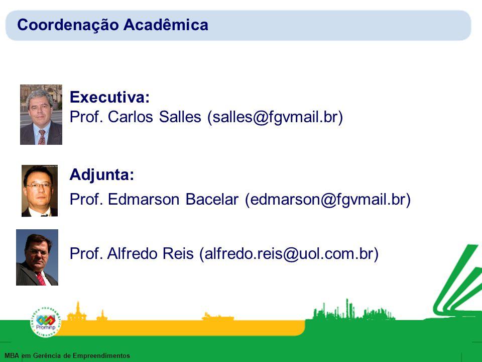 MBA em Gerência de Empreendimentos Executiva: Prof. Carlos Salles (salles@fgvmail.br) Adjunta: Prof. Edmarson Bacelar (edmarson@fgvmail.br) Prof. Alfr