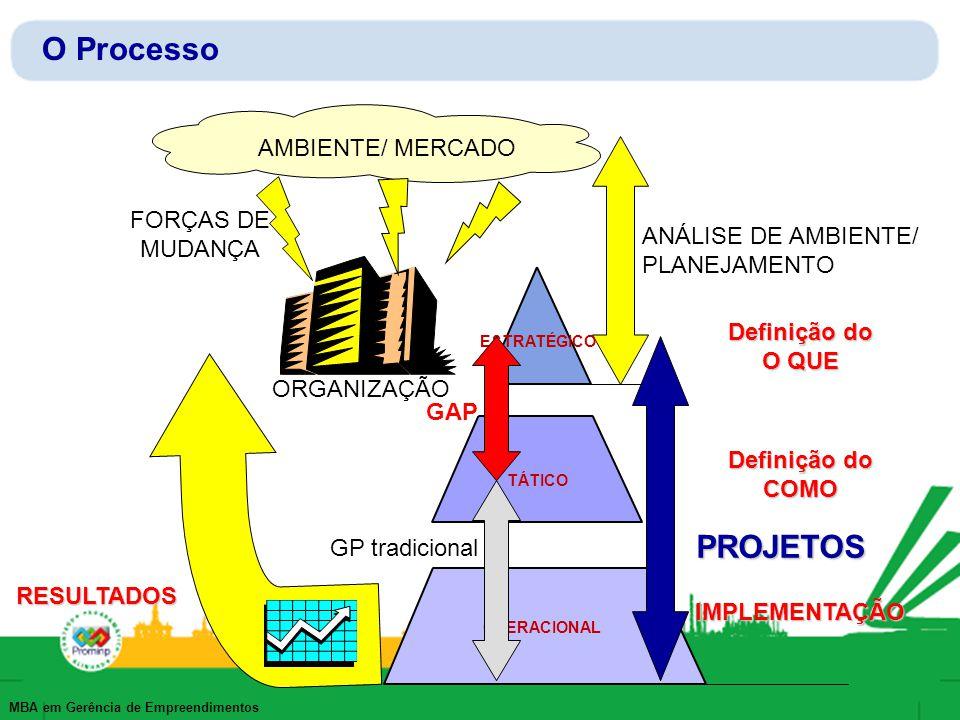 MBA em Gerência de Empreendimentos O Processo AMBIENTE/ MERCADO ORGANIZAÇÃO FORÇAS DE MUDANÇA ANÁLISE DE AMBIENTE/ PLANEJAMENTO ESTRATÉGICO TÁTICO OPE